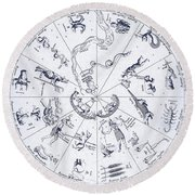 Star Map From Kirchers Oedipus Round Beach Towel