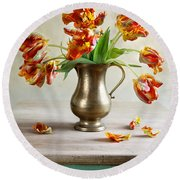 Still Life With Tulips Round Beach Towel