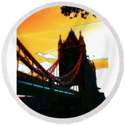 Sunset At Tower Brigde Round Beach Towel