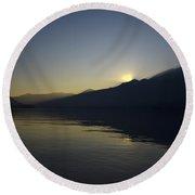 Sunset Over An Alpine Lake Round Beach Towel