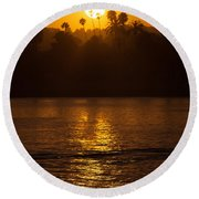 sunset santa Barbara Round Beach Towel
