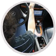 Texting And Driving Round Beach Towel by Photo Researchers, Inc.