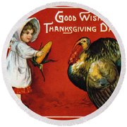 Thanksgiving Card, 1900 Round Beach Towel