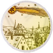 The Great Comet Of 1556 Round Beach Towel