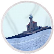 The Lighthouse Close To Primosten Round Beach Towel