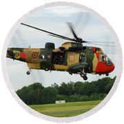 The Sea King Helicopter Of The Belgian Round Beach Towel