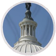 The United States Capitol Building Dome Round Beach Towel
