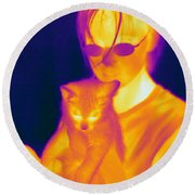 Thermogram Of A Girl And Cat Round Beach Towel