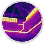 Thermogram Of Steam Pipes Round Beach Towel
