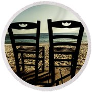 Two Chairs Round Beach Towel