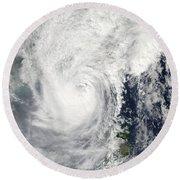 Typhoon Megi Round Beach Towel