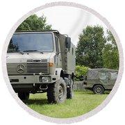 Unimog Truck Of The Belgian Army Round Beach Towel
