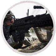 U.s. Army Soldier Provides Security Round Beach Towel