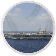 Uss Abraham Lincoln Transits The Indian Round Beach Towel