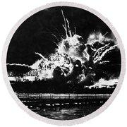 Uss Shaw, Pearl Harbor, December 7, 1941 Round Beach Towel