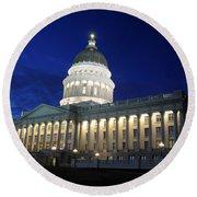 Utah Capitol Building At Twilight Round Beach Towel