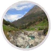 Valle Verzasca - Ticino Round Beach Towel