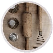 Vintage Cooking Utensils Round Beach Towel