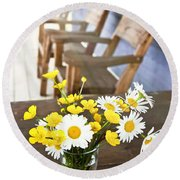 Wildflowers Bouquet At Cottage Round Beach Towel