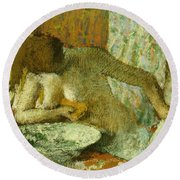 Woman At Her Toilet Round Beach Towel