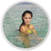 Woman At Kaneohe Sandbar Round Beach Towel