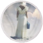Woman With Suitcase Round Beach Towel
