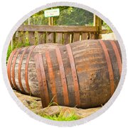 Wooden Barrels Round Beach Towel