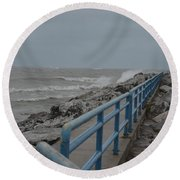 Hurricane Sandy Round Beach Towel