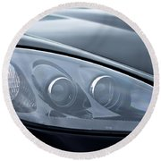 2002 Chevrolet Corvette Head Light Round Beach Towel
