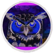 2011 Dreamy Horned Owl Negative Round Beach Towel