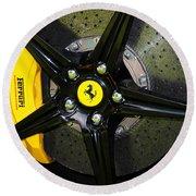 2012 Ferrari 458 Spider Brake Pad Yellow Round Beach Towel