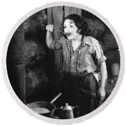 Silent Film Still Round Beach Towel