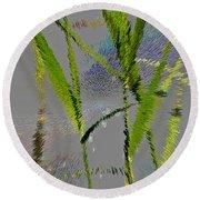 Water Reed Digital Art Round Beach Towel
