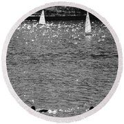 2boats2ducks In Black And White Round Beach Towel