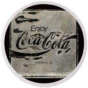 Coca Cola Sign Grungy Retro Style Round Beach Towel