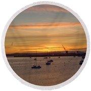 Sunrise Falmouth Docks Round Beach Towel