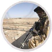A British Army Soldier Provides Round Beach Towel
