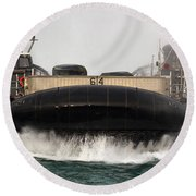 A Landing Craft Air Cushion Approaches Round Beach Towel