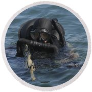 A Navy Seal Combat Swimmer Round Beach Towel by Michael Wood