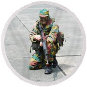 A Paratrooper Of The Belgian Army Round Beach Towel