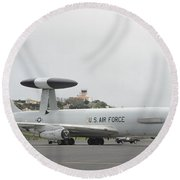 A U.s. Air Force E-3 Sentry Aircraft Round Beach Towel