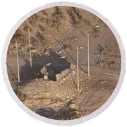 Aerial View Of A Destroyed Iraqi Round Beach Towel