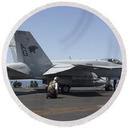 An Fa-18c Hornet During Flight Round Beach Towel