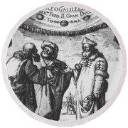 Aristotle, Ptolemy And Copernicus Round Beach Towel