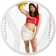Asian Woman With Santa Hat  Round Beach Towel