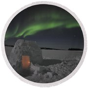 Aurora Borealis Over An Igloo On Walsh Round Beach Towel by Jiri Hermann