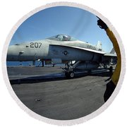 Aviation Boatswains Mate Directs Round Beach Towel by Stocktrek Images