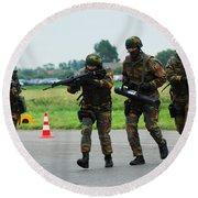 Belgian Paracommandos Entering Round Beach Towel