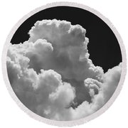 Black And White Sky With Building Storm Clouds Fine Art Print Round Beach Towel