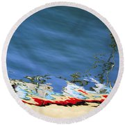 Boat Reflections At Sea Round Beach Towel